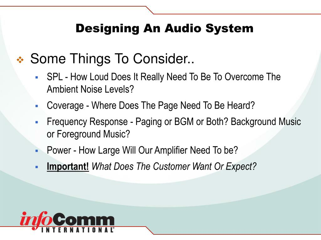 Designing An Audio System
