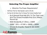 selecting the proper amplifier