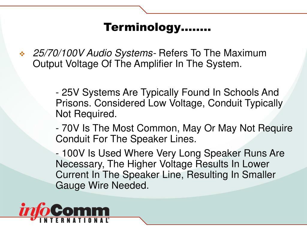 Terminology……..
