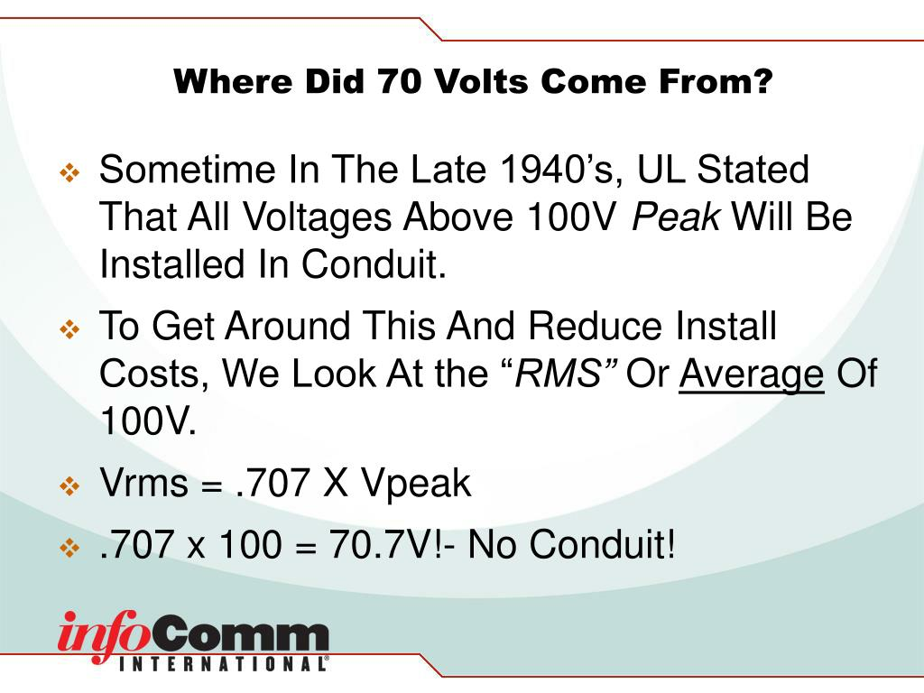 Where Did 70 Volts Come From?