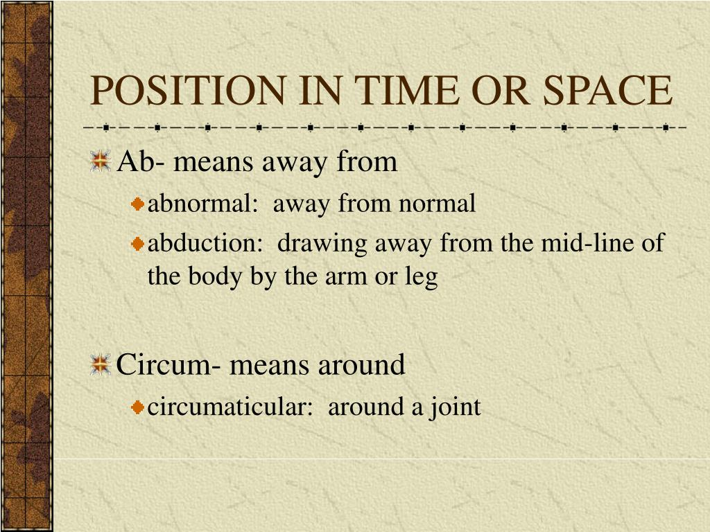 POSITION IN TIME OR SPACE