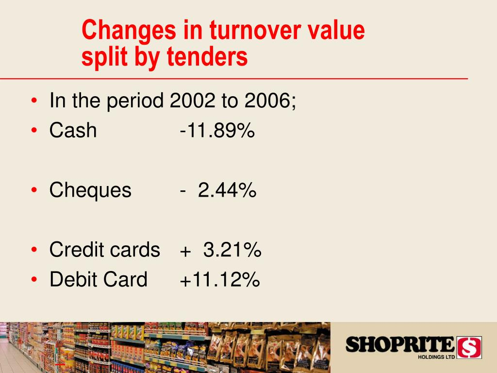 Changes in turnover value split by tenders