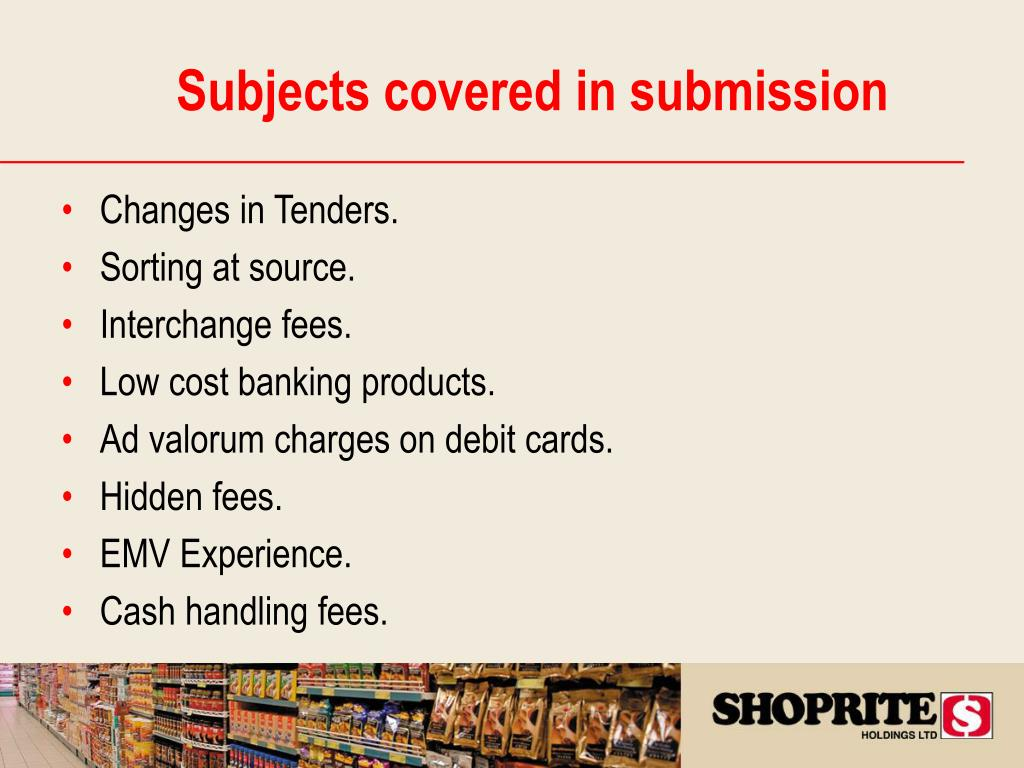 Subjects covered in submission
