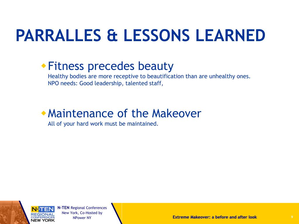 PARRALLES & LESSONS LEARNED