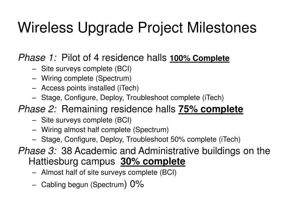 Wireless Upgrade Project Milestones