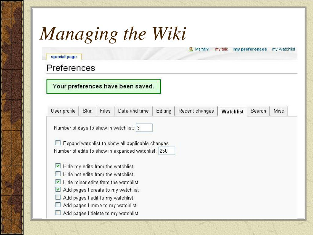 Managing the Wiki