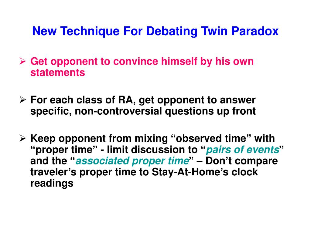 New Technique For Debating Twin Paradox