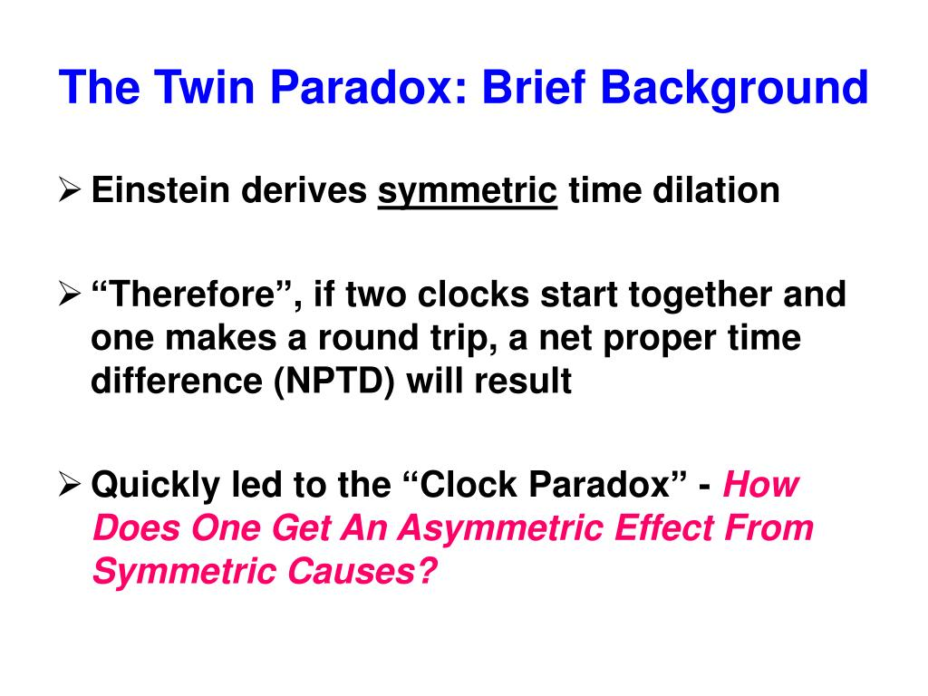 The Twin Paradox: Brief Background