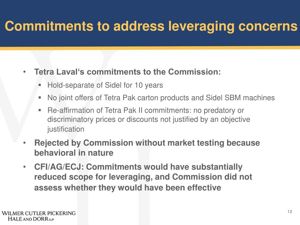 Commitments to address leveraging concerns