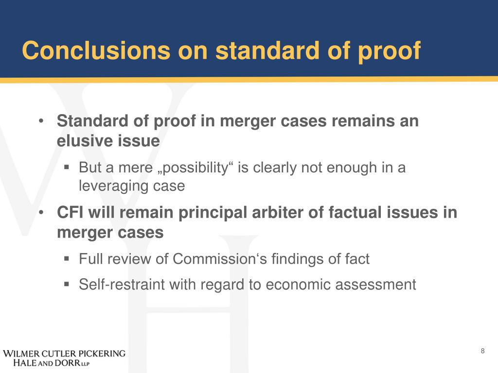 Conclusions on standard of proof