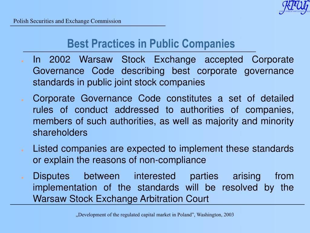 Best Practices in Public Companies