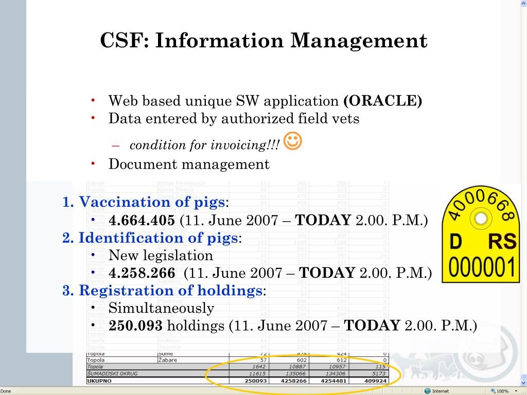 CSF: Information Management