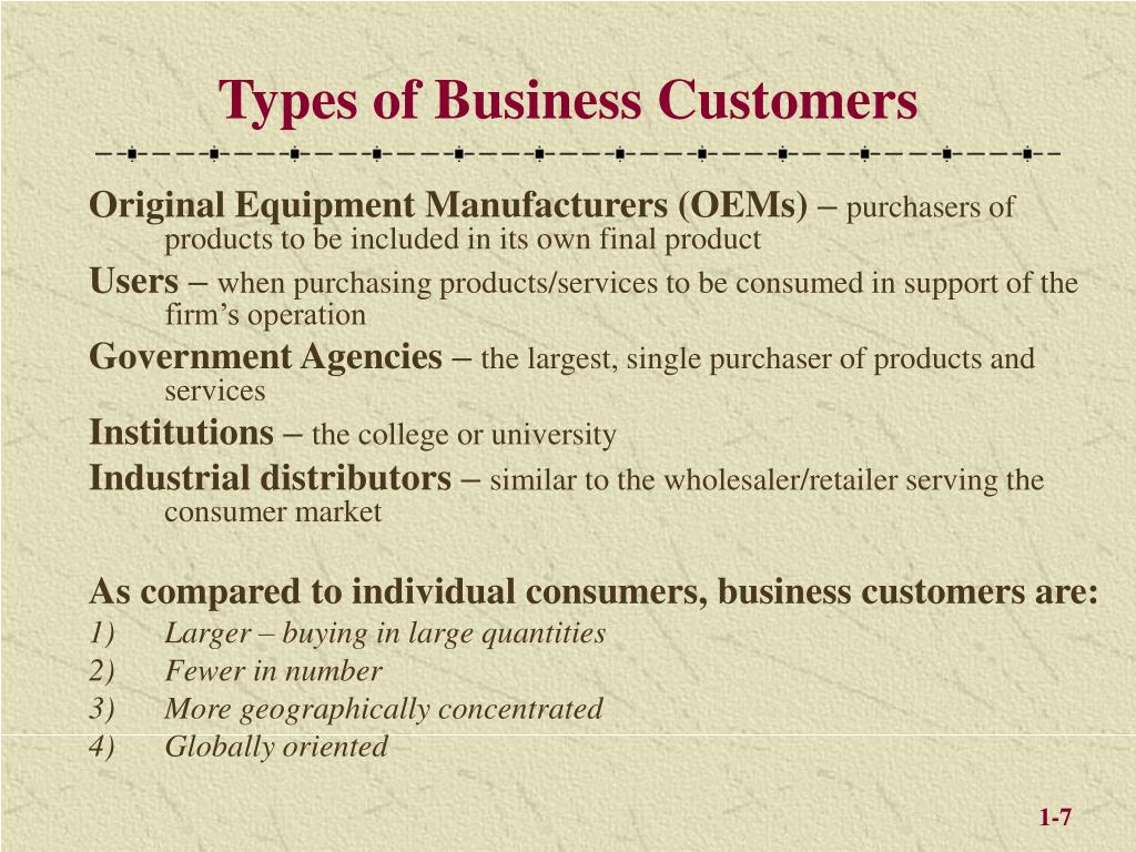 Types of Business Customers