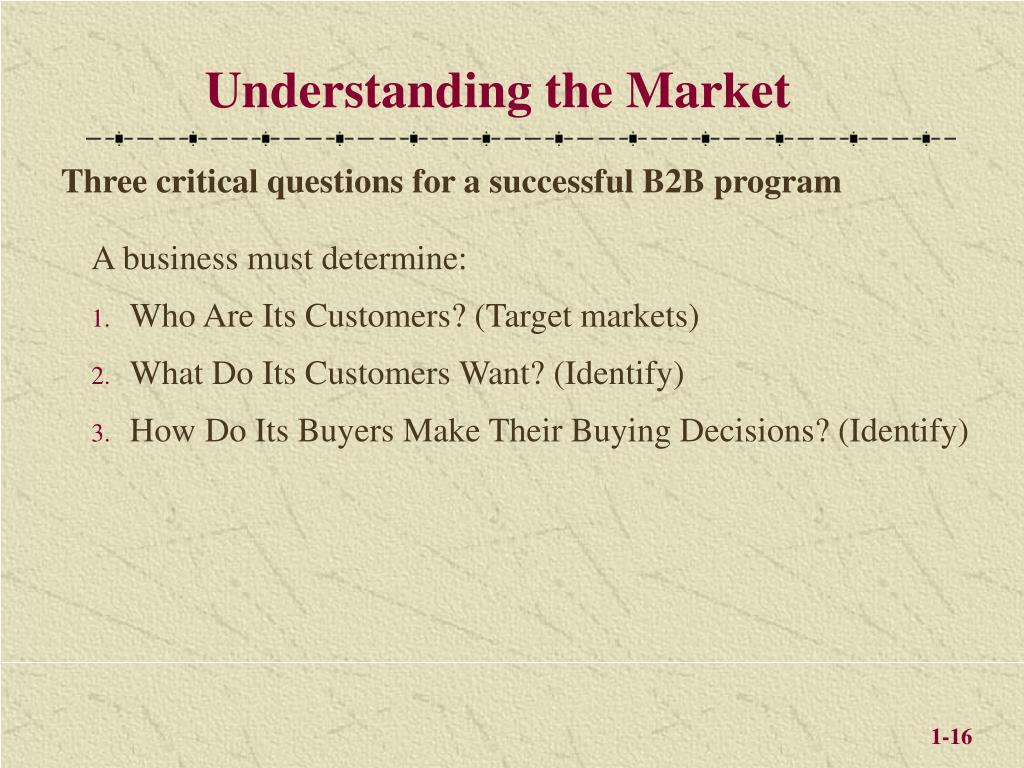 Understanding the Market