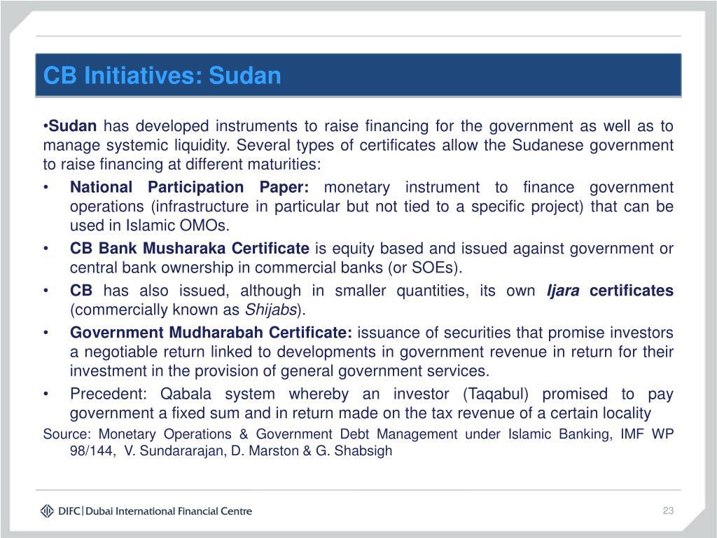 CB Initiatives: Sudan