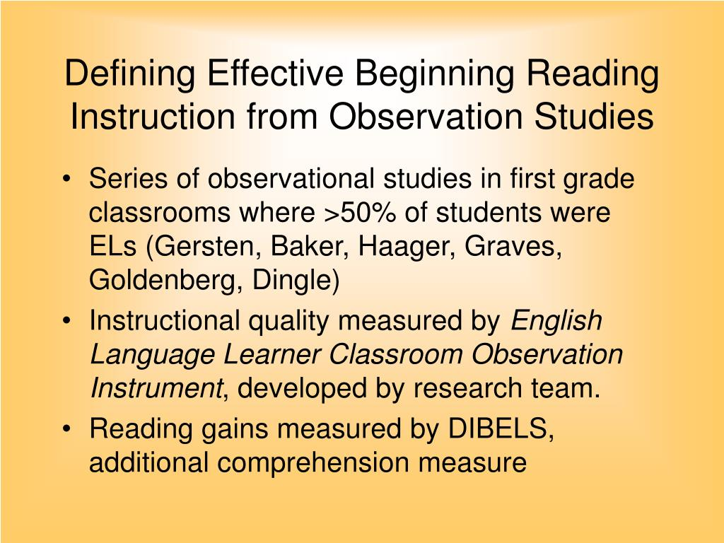 Defining Effective Beginning Reading Instruction from Observation Studies