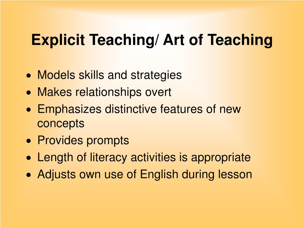 Explicit Teaching/ Art of Teaching