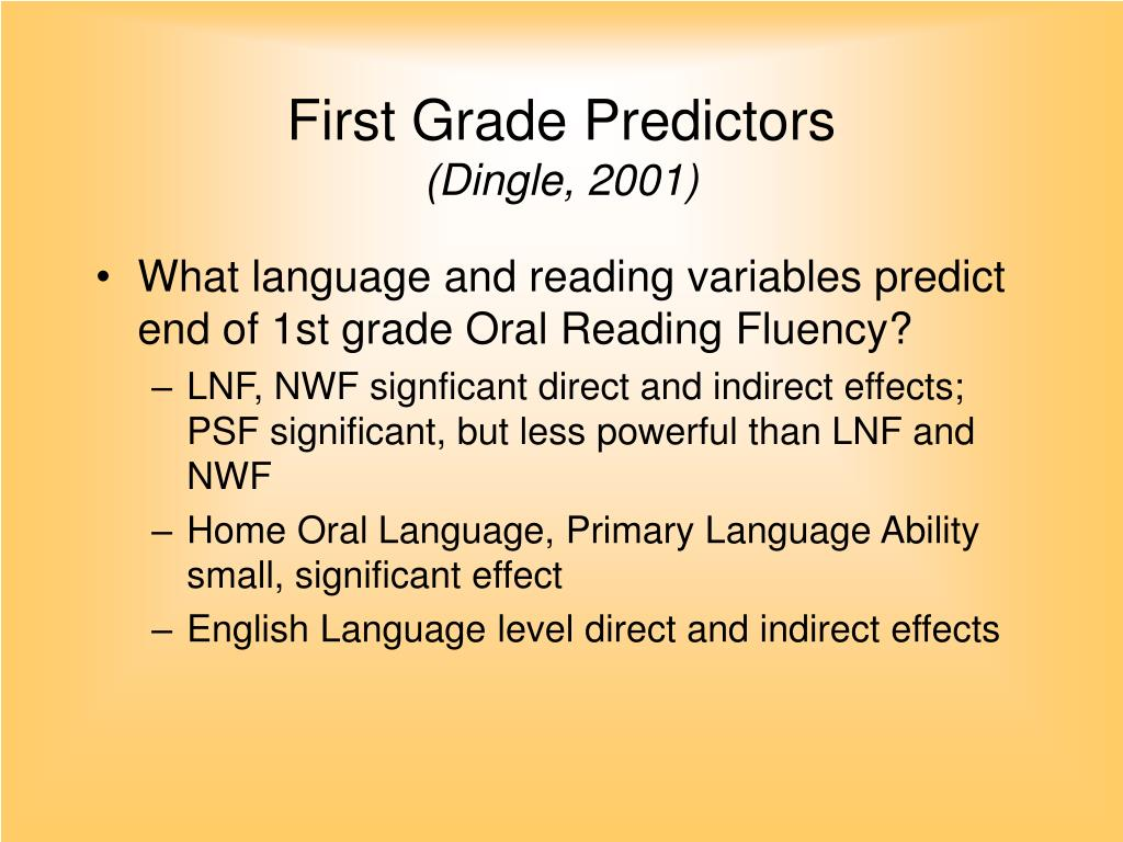 First Grade Predictors