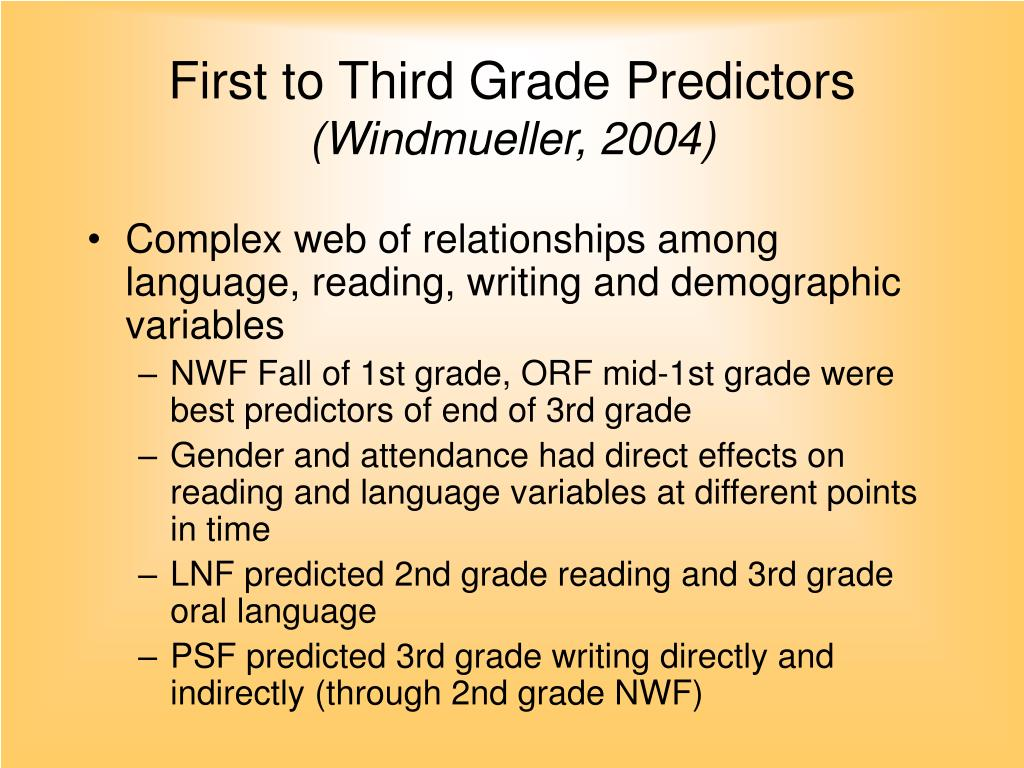 First to Third Grade Predictors