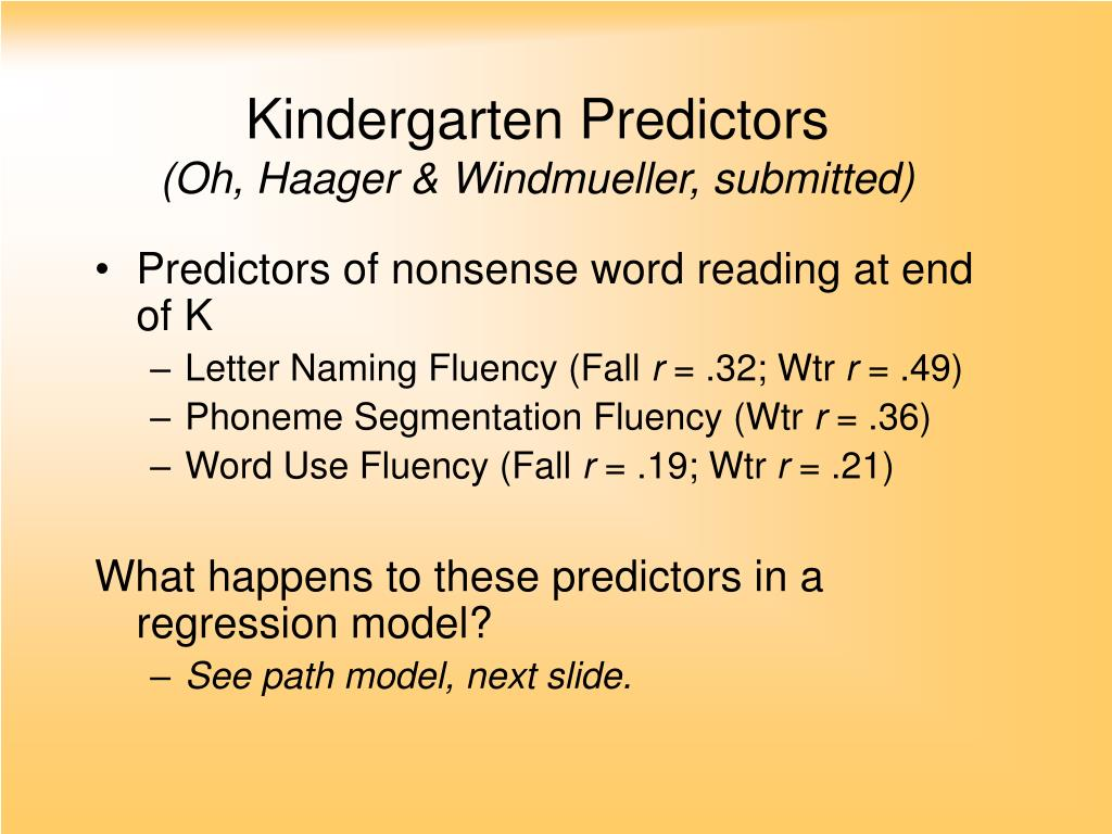 Kindergarten Predictors