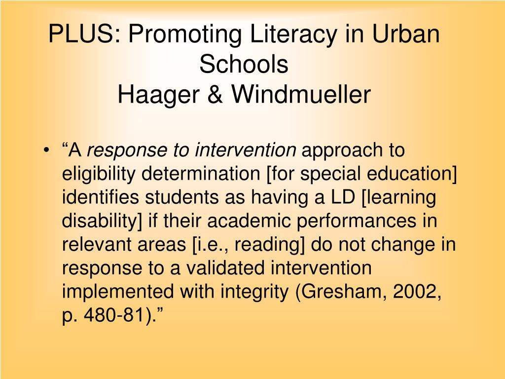 PLUS: Promoting Literacy in Urban Schools