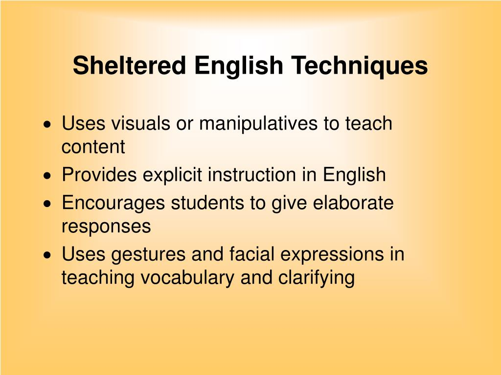 Sheltered English Techniques