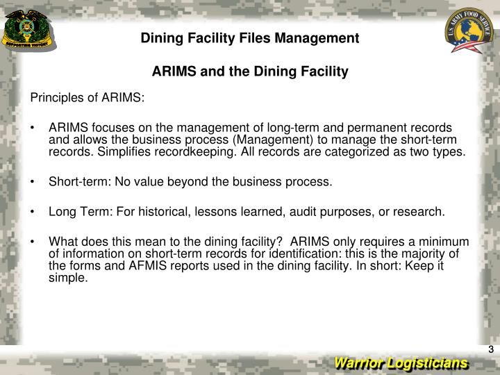 Dining facility files management arims and the dining facility
