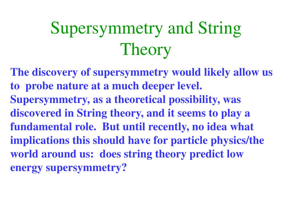 Supersymmetry and String Theory