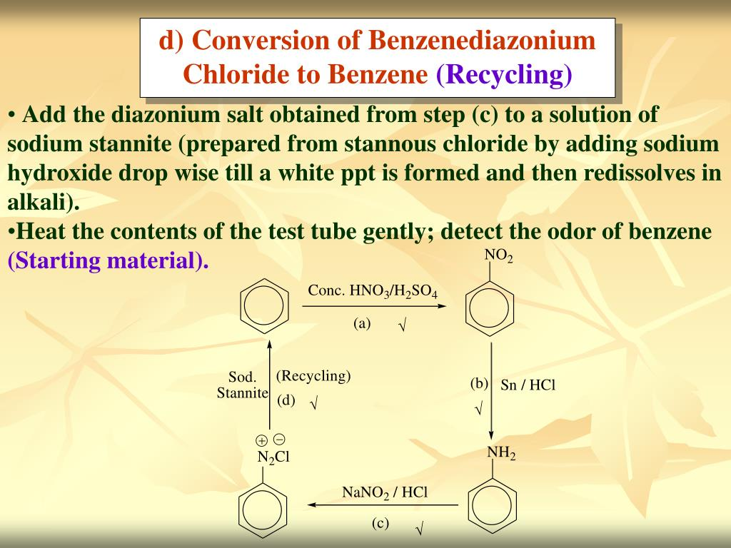 d) Conversion of Benzenediazonium Chloride to Benzene