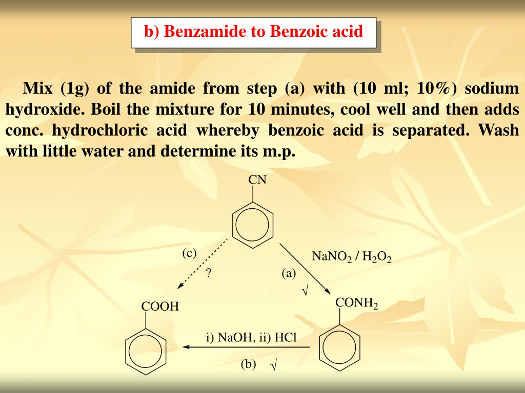 b) Benzamide to Benzoic acid