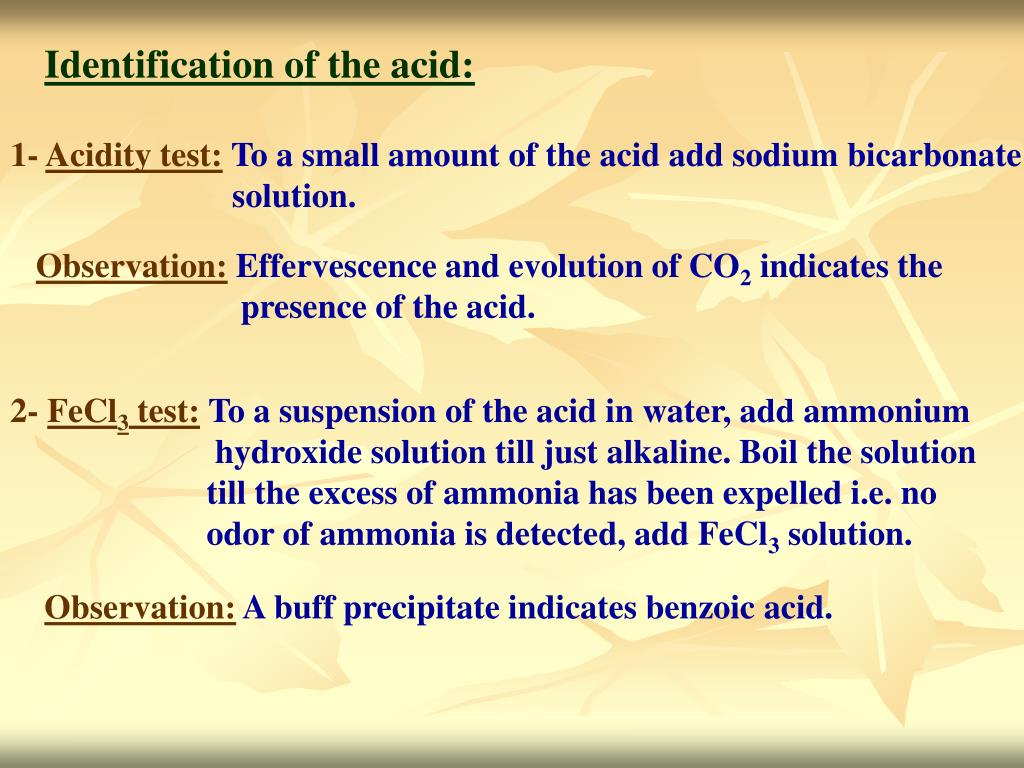Identification of the acid: