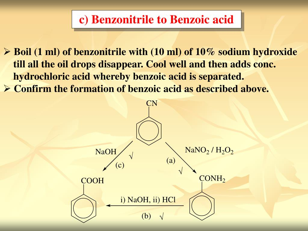 c) Benzonitrile to Benzoic acid