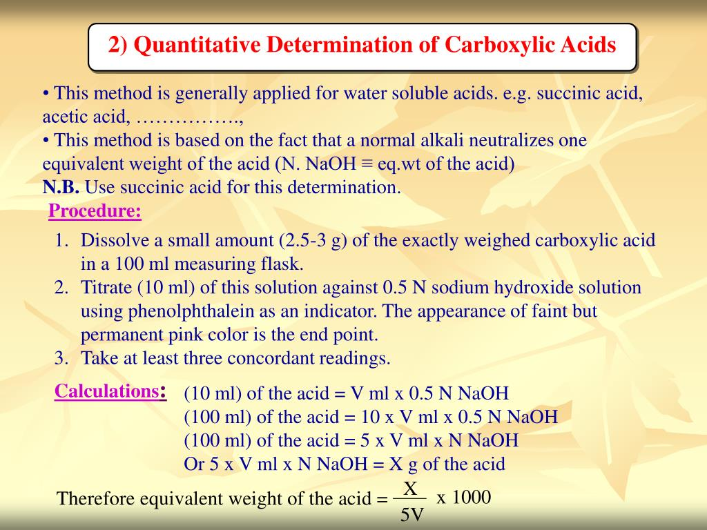 2) Quantitative Determination of Carboxylic Acids