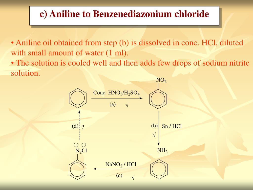 c) Aniline to Benzenediazonium chloride