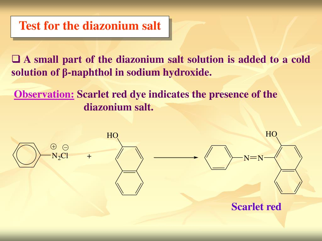 Test for the diazonium salt