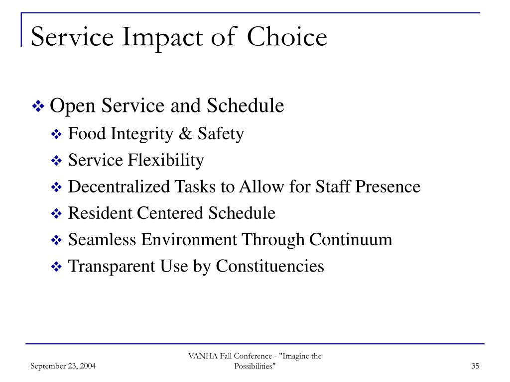Service Impact of Choice