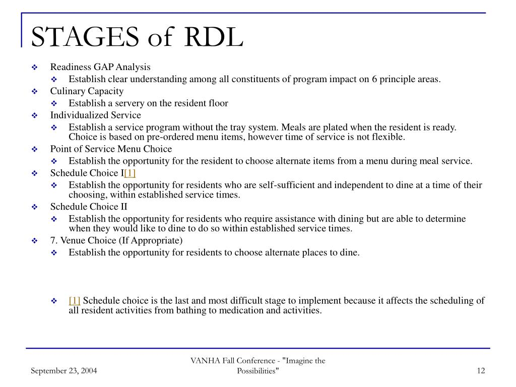 STAGES of RDL