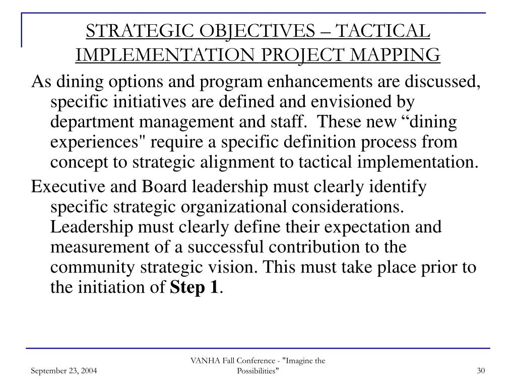 STRATEGIC OBJECTIVES – TACTICAL IMPLEMENTATION PROJECT MAPPING