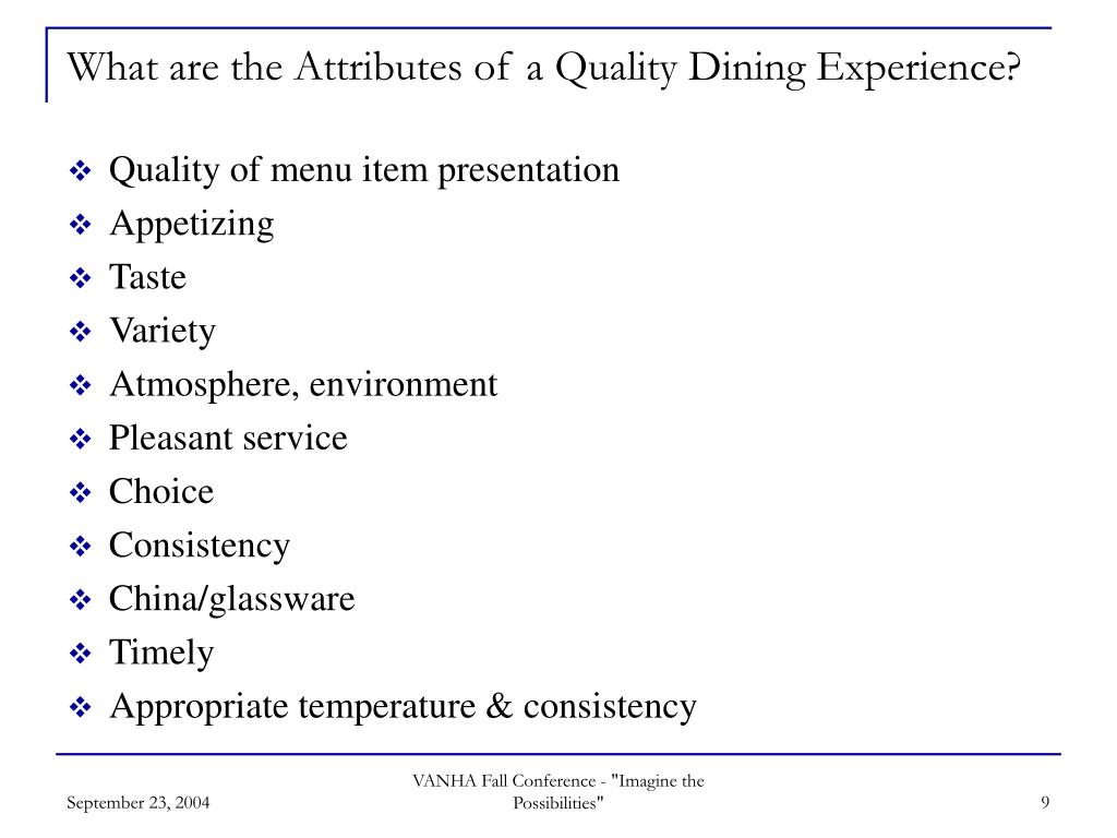 What are the Attributes of a Quality Dining Experience?