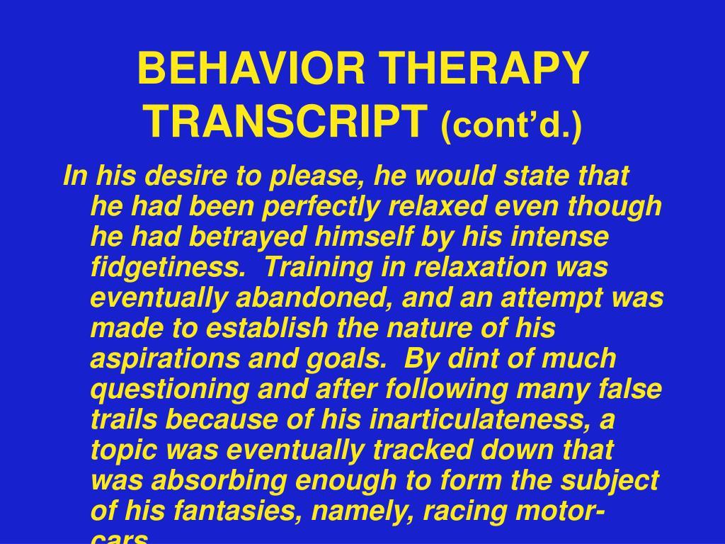 BEHAVIOR THERAPY TRANSCRIPT