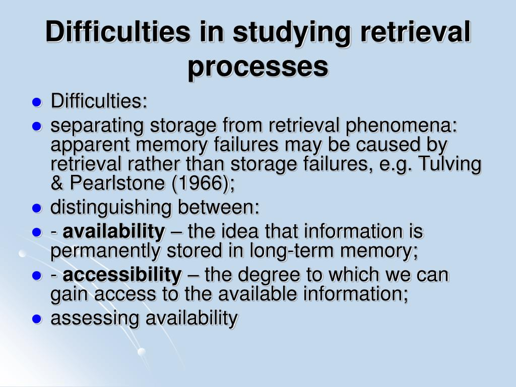 Difficulties in studying retrieval processes