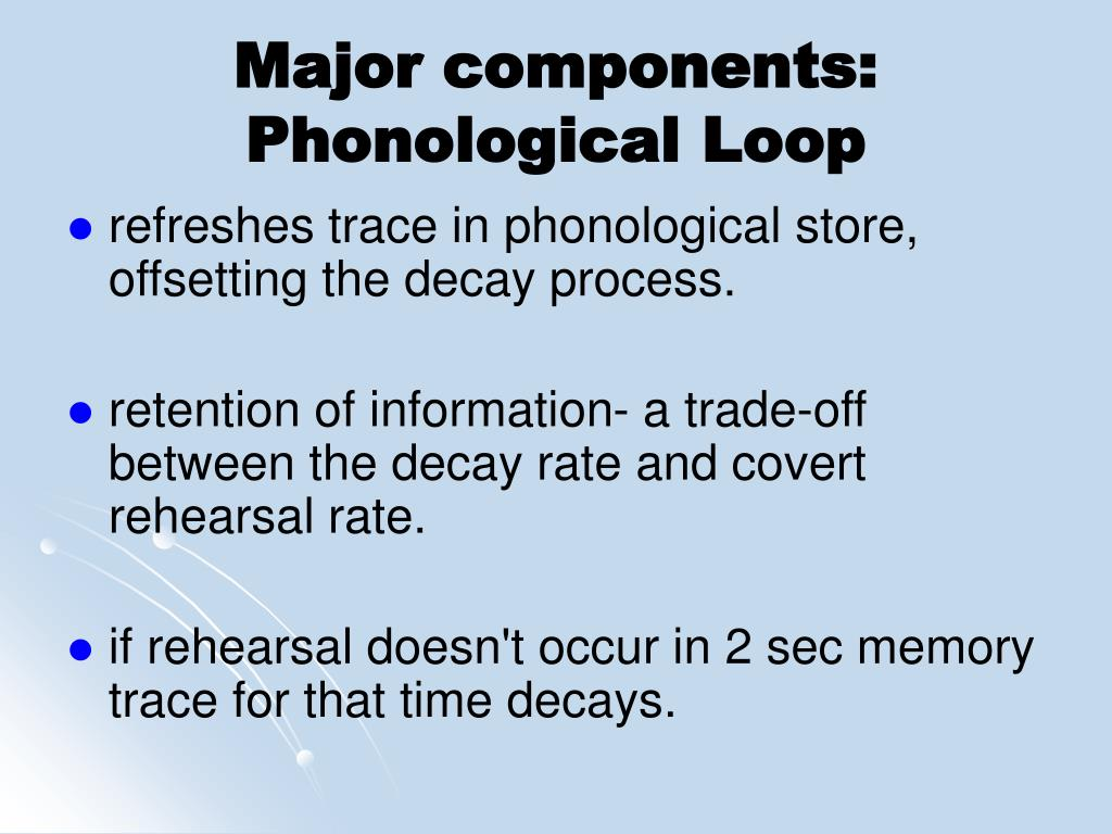 Major components: Phonological Loop
