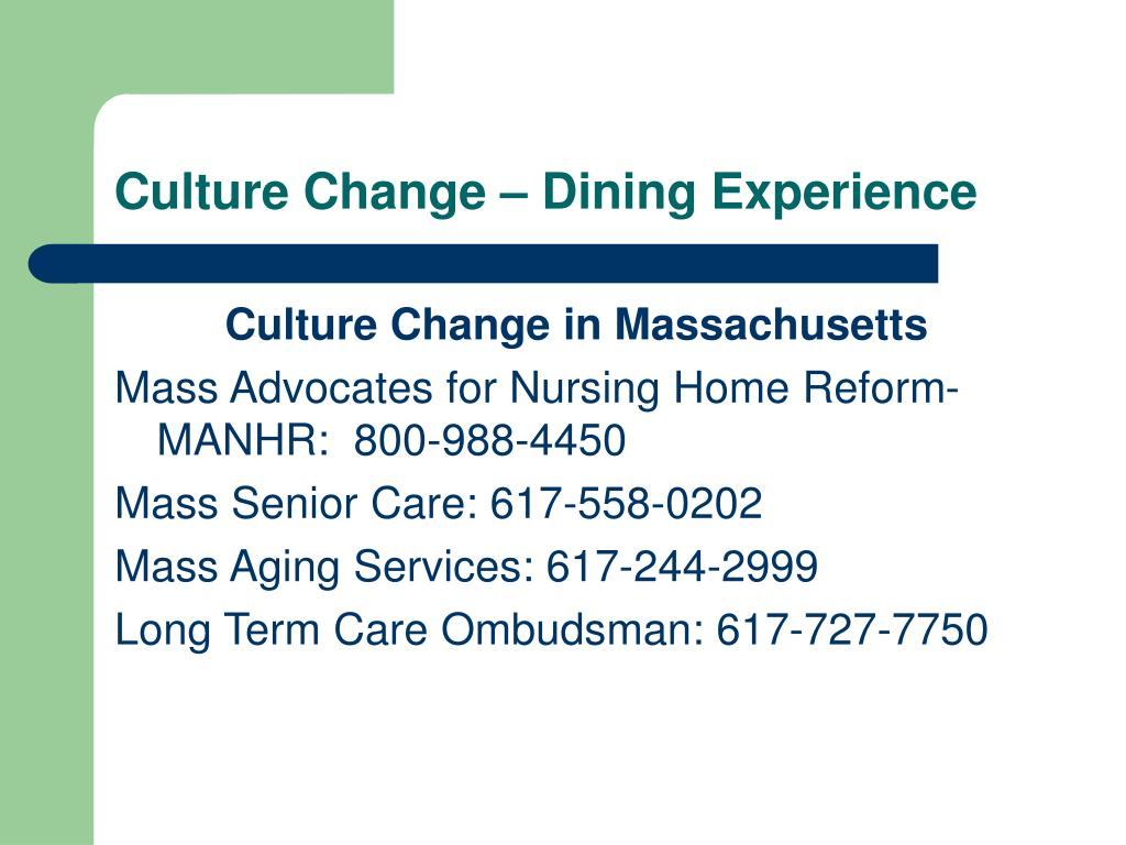 Culture Change – Dining Experience