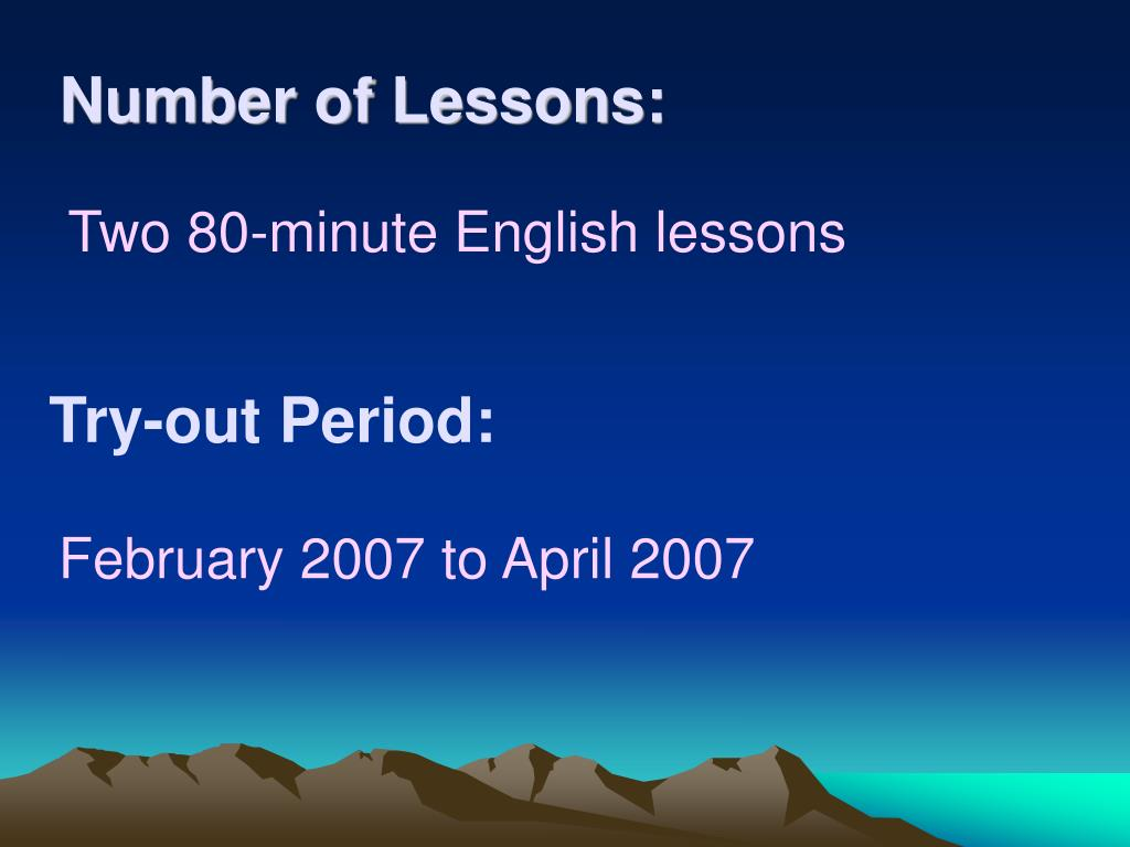 Number of Lessons: