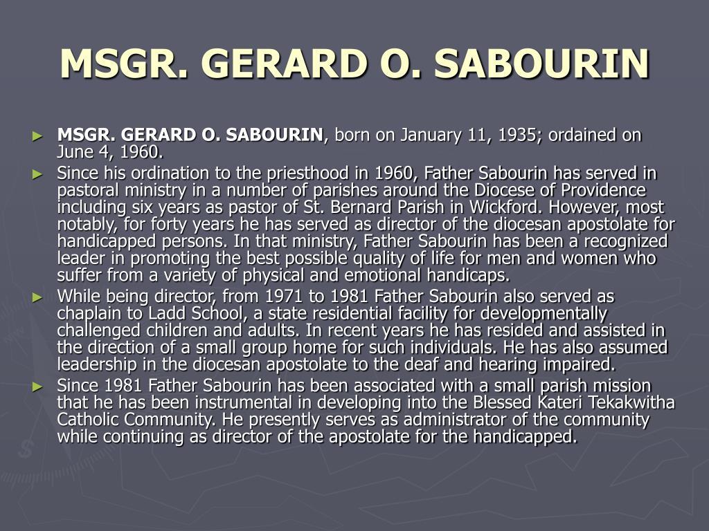 MSGR. GERARD O. SABOURIN