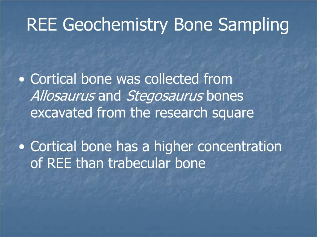 REE Geochemistry Bone Sampling