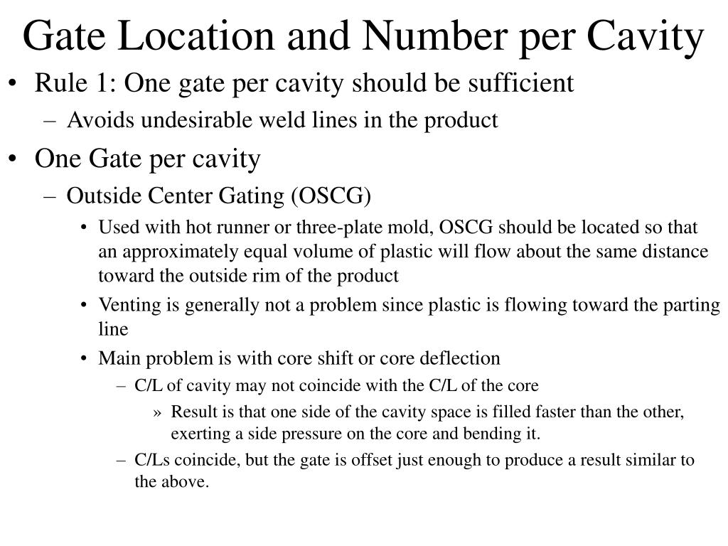 Gate Location and Number per Cavity