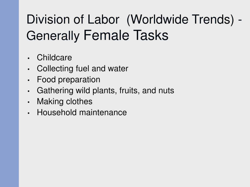 Division of Labor  (Worldwide Trends) - Generally