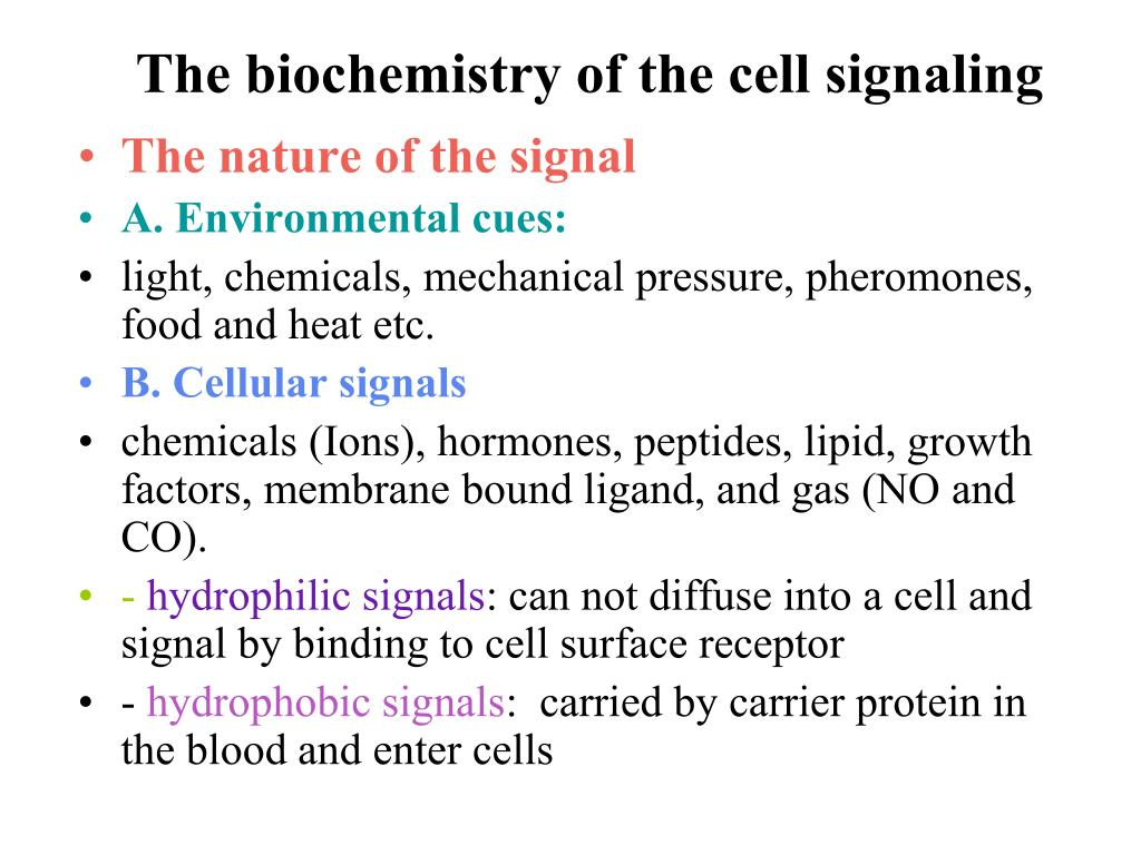 The biochemistry of the cell signaling