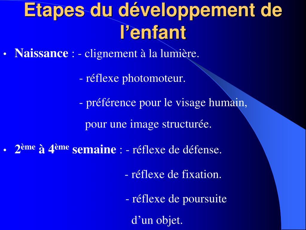 Etapes du développement de l'enfant